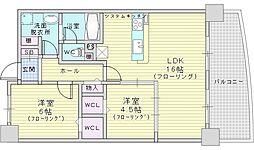 Osaka Metro御堂筋線 江坂駅 徒歩10分の賃貸マンション 3階2LDKの間取り