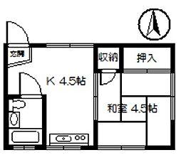 川部コーポ[3階]の間取り