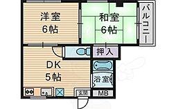 天徳ハイツ 1階2DKの間取り