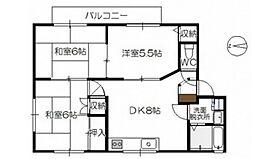 広島県広島市佐伯区三筋2丁目の賃貸アパートの間取り