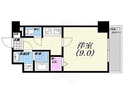 阪急神戸本線 西宮北口駅 徒歩18分の賃貸マンション 2階1Kの間取り