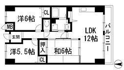 兵庫県宝塚市末成町の賃貸マンションの間取り