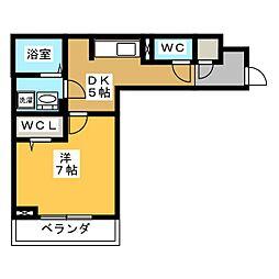 D-roomビーチルック 2階1Kの間取り