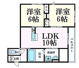 阪急神戸本線 六甲駅 徒歩8分の賃貸アパート 1階2LDKの間取り