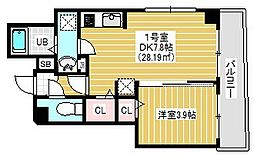 BRIGHT FUTURE 東大島 4階1DKの間取り
