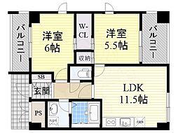 大阪モノレール彩都線 彩都西駅 バス19分 中河原南口下車 徒歩8分の賃貸マンション 4階2LDKの間取り