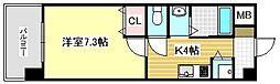 JR鹿児島本線 久留米駅 徒歩5分の賃貸マンション 6階1Kの間取り