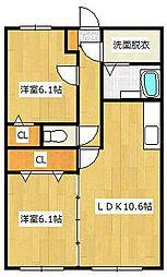 西鉄天神大牟田線 徳益駅 徒歩27分の賃貸マンション 3階2LDKの間取り