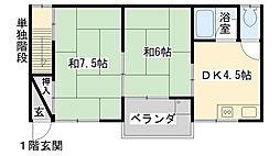 大阪府大阪市鶴見区鶴見2丁目の賃貸アパートの間取り