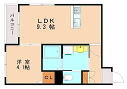 西鉄天神大牟田線 高宮駅 徒歩13分の賃貸マンション 2階1LDKの間取り
