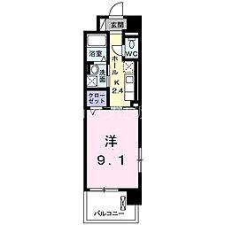 阪急京都本線 上新庄駅 徒歩5分の賃貸マンション 7階1Kの間取り