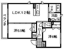 南海線 和泉大宮駅 徒歩13分の賃貸マンション 3階2LDKの間取り