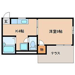 静岡県静岡市駿河区曲金2丁目の賃貸アパートの間取り