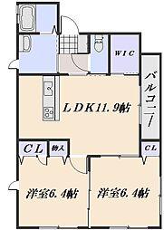 クラヴィエT E棟[1階]の間取り