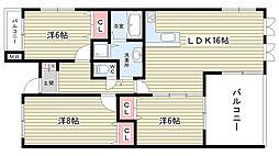 大阪府豊中市緑丘1丁目の賃貸マンションの間取り