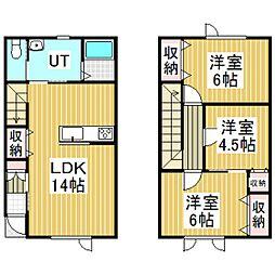啓北町新築メゾネットアパート[B号室]の間取り