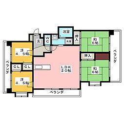 モンアルカディア三宅[4階]の間取り
