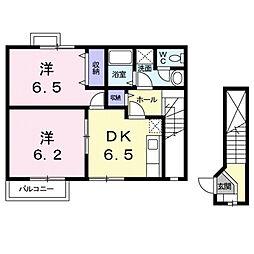 プラティ−ヌK[2階]の間取り