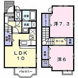 静岡県浜松市南区若林町の賃貸アパートの間取り