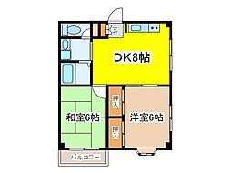 東京都府中市西府町1丁目の賃貸マンションの間取り