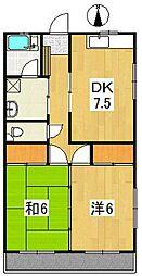 コーポ建[A201号室]の間取り