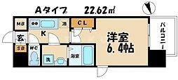 レジュールアッシュ大阪城北 10階1Kの間取り