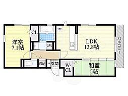 大阪モノレール彩都線 彩都西駅 徒歩9分の賃貸アパート 3階2LDKの間取り