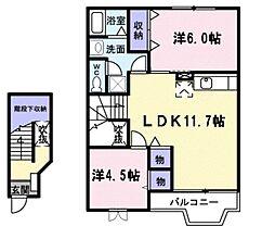 ティンカ-ベルハイム 2階2LDKの間取り