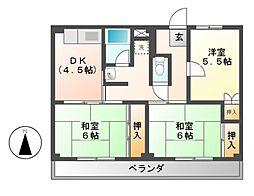 ビレッジハウス各務原 1・2・3・4棟[3階]の間取り