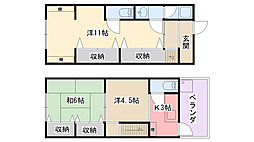 [一戸建] 兵庫県西宮市小松東町2丁目 の賃貸【兵庫県 / 西宮市】の間取り