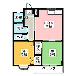 レジデンス西大曲[4階]の間取り