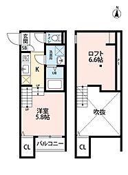 福岡県福岡市東区筥松3丁目の賃貸アパートの間取り