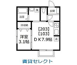 ドルフK-3[203号室号室]の間取り