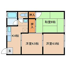 奈良県橿原市北八木町の賃貸アパートの間取り