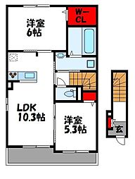 JR鹿児島本線 古賀駅 徒歩12分の賃貸アパート 2階2LDKの間取り