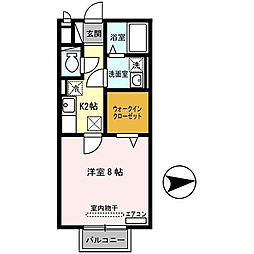 Dream Hazuki (ドリーム葉月6番館) 2階1Kの間取り