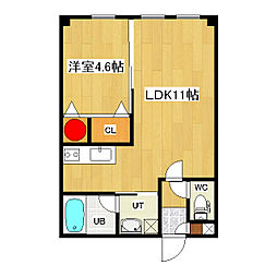 ヴァンドーム青葉 1階1LDKの間取り
