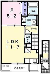 JR山陽本線 網干駅 徒歩10分の賃貸アパート 2階1LDKの間取り