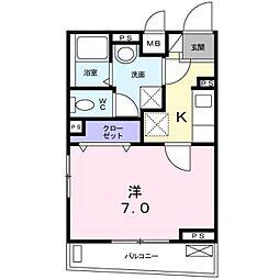 東急目黒線 不動前駅 徒歩5分の賃貸アパート 2階1Kの間取り