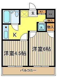 埼玉県富士見市鶴瀬西2丁目の賃貸マンションの間取り
