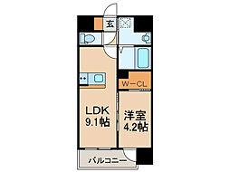 (仮称)南本町2丁目ビル (新築) 2階1LDKの間取り