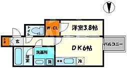 レオンコンフォート本町橋 3階1DKの間取り