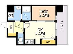 MODERN PALAZZO KEGO SUNKEGO 8階1DKの間取り