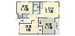 大阪府堺市西区鳳西町2丁の賃貸マンションの間取り