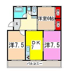 コーポ矢野[303号室]の間取り