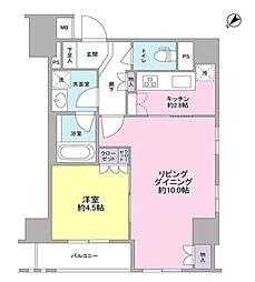 都営大江戸線 築地市場駅 徒歩6分の賃貸マンション 11階1LDKの間取り