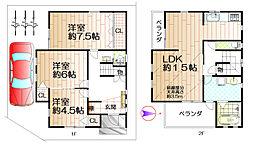 八尾市八尾木北1丁目1-6外壁塗装、リフォーム・建物検査済み 3LDKの間取り