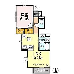 JR京浜東北・根岸線 本郷台駅 徒歩13分の賃貸アパート 1階1LDKの間取り