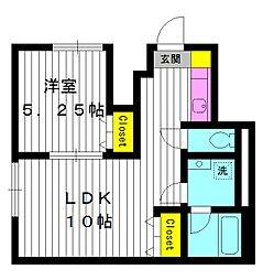 東京都中野区江古田の賃貸アパートの間取り