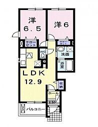 香川県三豊市高瀬町上高瀬の賃貸アパートの間取り